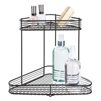 2-Tier Organizer Rack metal countertop Shelf Wire Storage for Kitchenware Bathroom cosmetic Spice Office and more