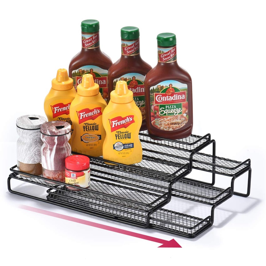 Countertop metal 3-Tier kitchen spice rack organizer storage Adjustable width