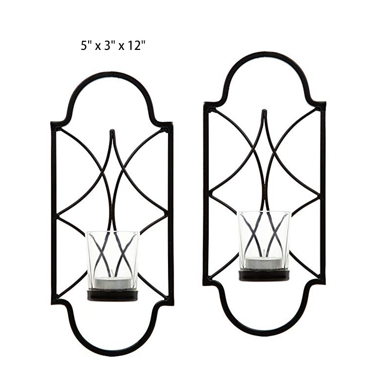 Home decorative art iron candle holder wall hanging candle holder with glass for Wedding, Bridal, Party, Reiki, Spa