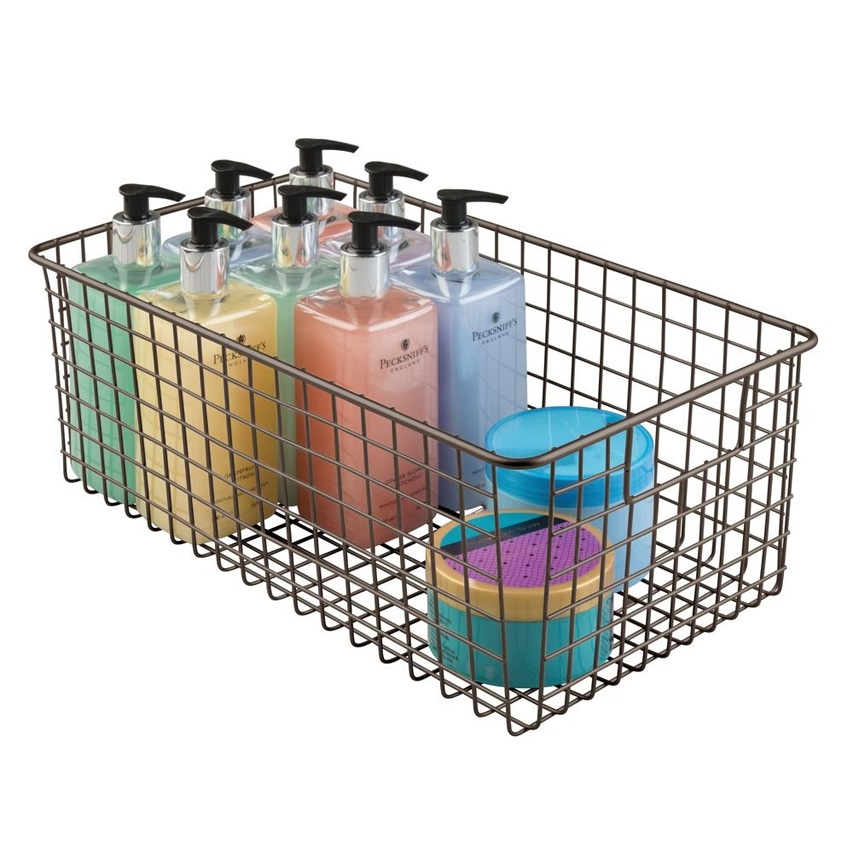 Metal wire Storage Organizer fruit Basket with Handles for Kitchen Cabinets, Pantry, Bathroom, Laundry Room, Closets, Garage