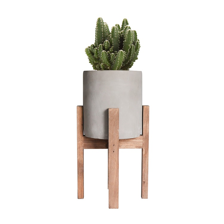Wholesale Country style concrete cement flower planter pot for plants,succulents,cactus with wood stand legs