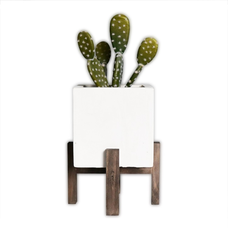Wholesale Country style decorative cement flower planter pot for plants,succulents,cactus with wood stand legs
