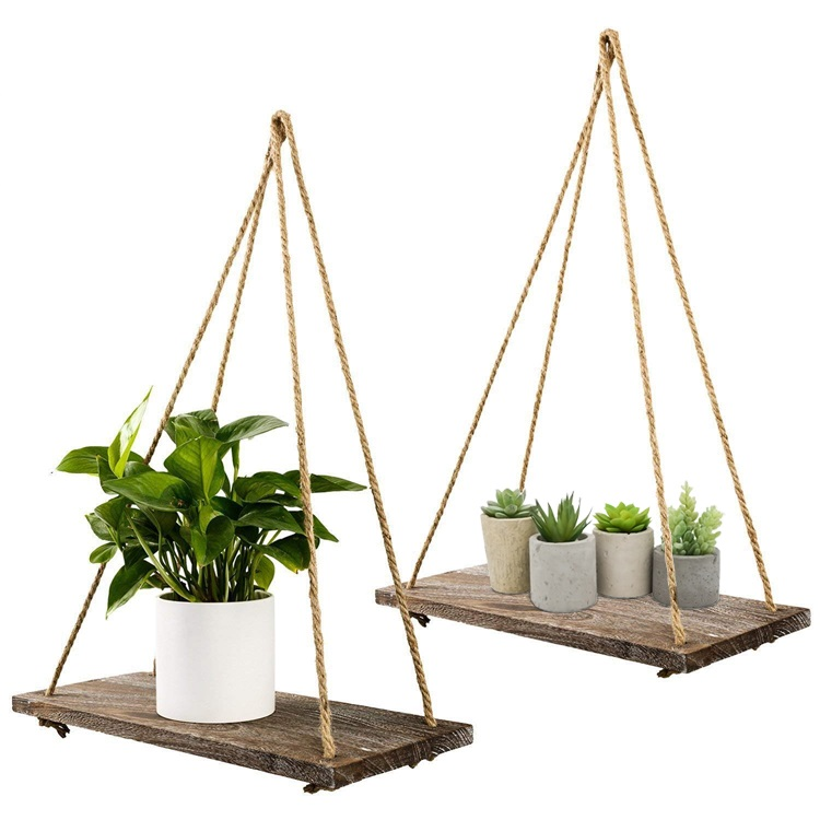 set of 2 black wood wholesale hanging rustic home wall shelf,for Bedroom, Living Room,plants pot