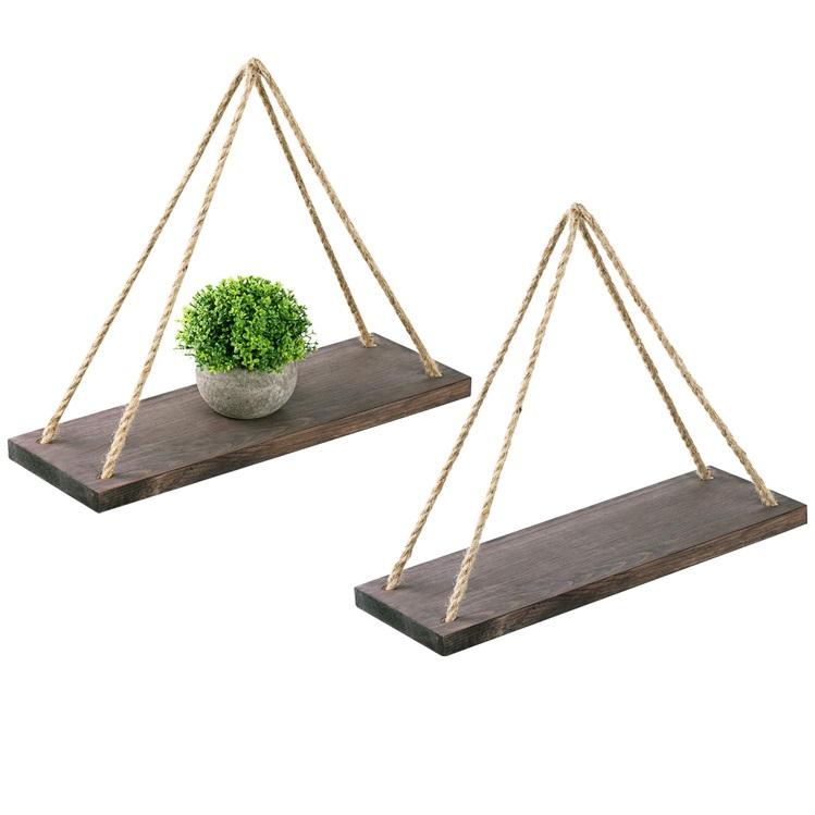 set of 2 black wood wholesale hanging rustic home wall shelf,for Bedroom, Living Room,plants pot