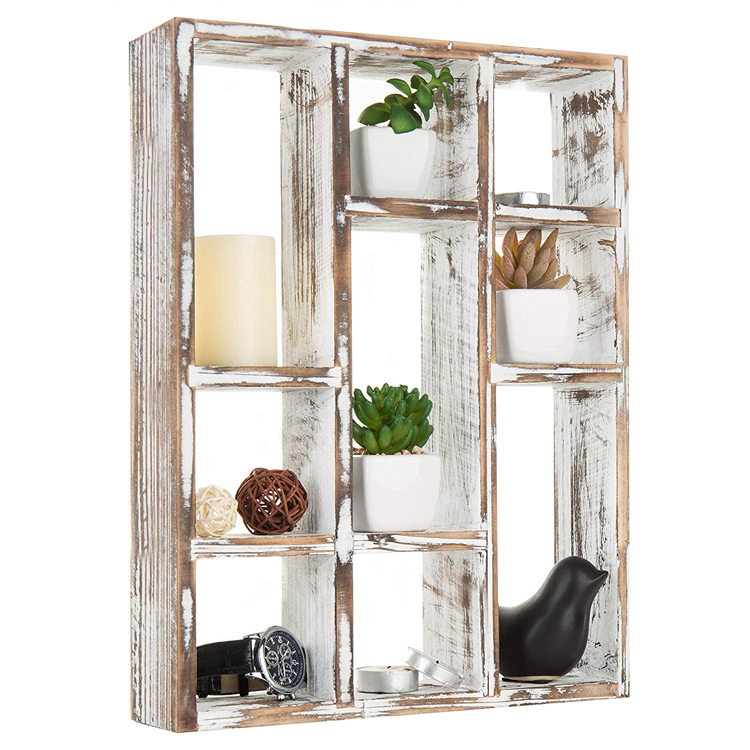 white color wood wholesale hanging rustic home wall shelf,for Bedroom, Living Room,plants pot