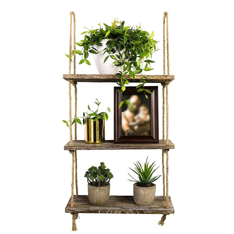 wood wholesale hanging rustic home wall shelf,for Bedroom, Living Room,plants pot