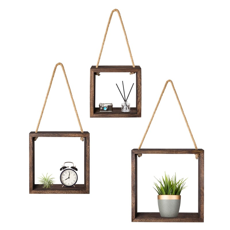 wood wholesale hanging wall rustic mount shelf set of 3,for Bedroom, Living Room,plants pot
