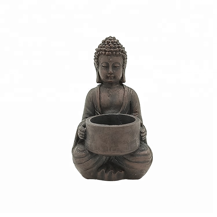 Custom Handmade Decorative Small Cement Buddha Statues with candle holder