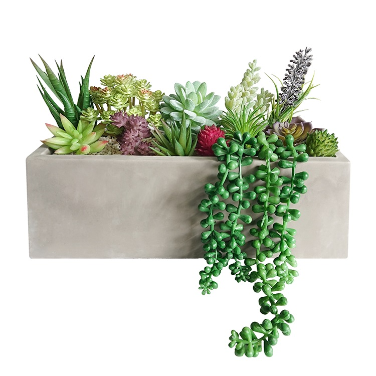 High quality 13 pcs Assorted faux artificial succulent plants in Rectangular cement concrete Planter Box