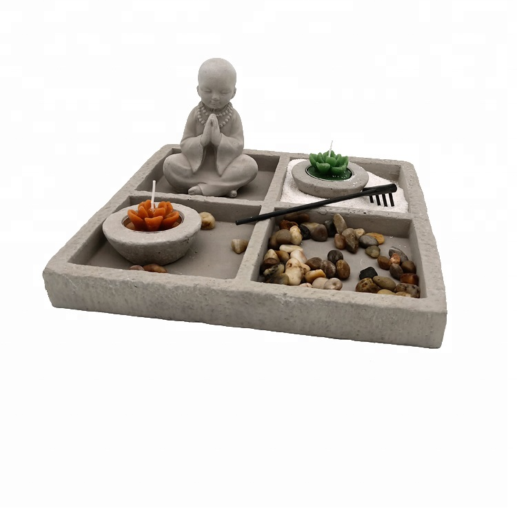 Home Decoration Japanese Feng Shui Cement mini Zen Garden outdoor zen sand garden