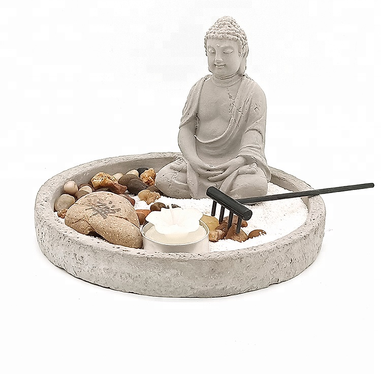 Wholesale home decor mini concrete zen garden buddha